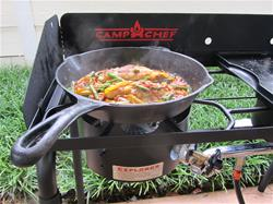 You could settle for a handful of trail mix or a cold sandwich and a bottle of water.  But you don't have to, especially if you're riding on or in a machine capable of carrying all the makings for a hot meal.  (Camp Chef photos)